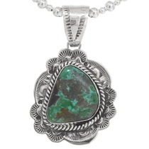 Sterling Silver Green Turquoise Pendant 40655
