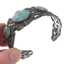 Vintage 1970s Sterling Silver Turquoise Cuff Bracelet 40664