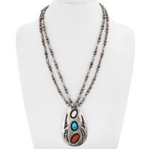 Old Pawn Native American Turquoise Pendant Necklace 40665