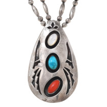 Large Sterling Silver Turquoise Coral Pendant 40665