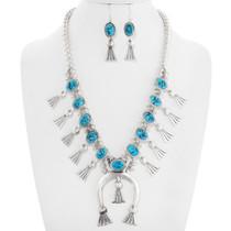 Navajo Turquoise Squash Blossom Necklace Set 40669