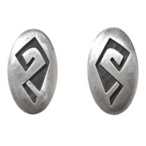 Vintage Hopi Overlay Silver Earrings 40681