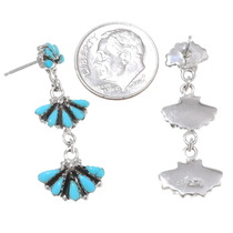 Sterling Silver Turquoise Western Dangle Earrings 40691
