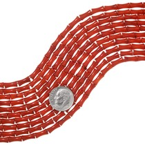 Red Coral Beads Bone Shape Priced Per Strand 37187