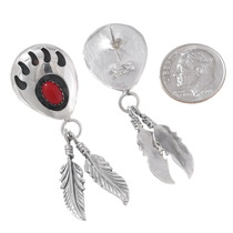 Red Coral Silver Bear Paw Navajo Earrings 40705
