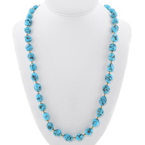 Natural Turquoise Gold Bead Necklace 40709