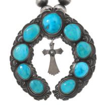 Old Pawn Sleeping Beauty Turquoise Squash Blossom Pendant 40715