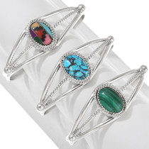 Navajo Sterling Silver Gemstone Bracelet 40720
