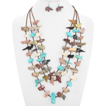 Old Pawn Zuni Carved Fetish Necklace Earrings Set 40723