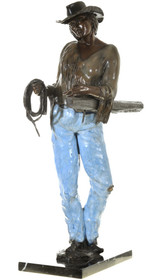 Cowgirl In Blue Jeans Bronze Statue 40729