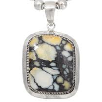 Vintage Large Turquoise Sterling Silver Navajo Pendant 40730
