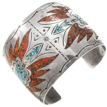 Old Pawn Navajo Peyote Bird Coral Turquoise Bracelet 40735