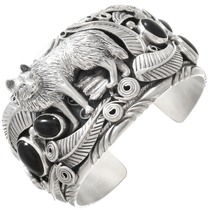 Black Onyx Sterling Silver Wolf Bracelet 40736