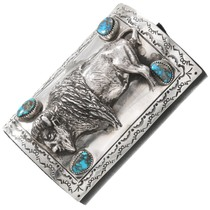 Bisbee Turquoise Silver Buffalo Leather Bow Guard 40738