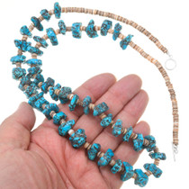 Vintage Turquoise Nuggets Heishi Beaded Navajo Necklace 40741