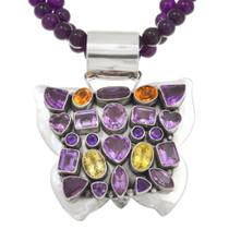 Vintage Navajo Amethyst Butterfly Pendant 40714