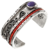 Old Pawn Native American Silver Bracelet 40744