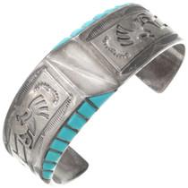 Vintage Turquoise Silver Kokopelli Cuff Bracelet 40745
