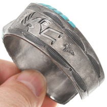 Turquoise Inlay Sterling Silver Kokopelli Design Cuff Bracelet 40745