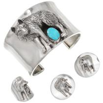 Vintage Sterling Silver Wolf Turquoise Bracelet 40750