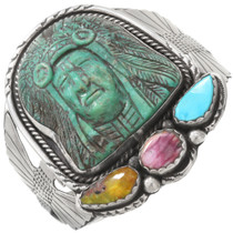 Old Pawn Carved Turquoise Indian Bracelet 40751