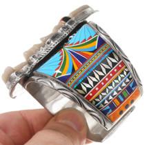 Colorful Gemstone Inlay Sterling Silver Bracelet 40756