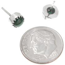 Petite Sterling Silver Malachite Earrings 40760