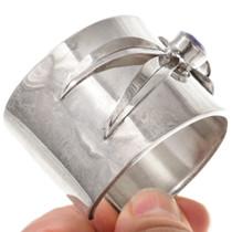 Wide Sterling Silver Cuff Amethyst Bracelet 40766