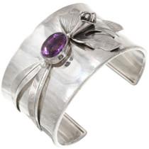 Vintage Amethyst Sterling Silver Lily Bracelet 40766