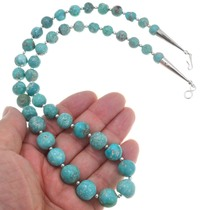 Navajo Sterling Silver Turquoise Bead Necklace 40793