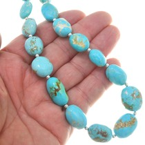 Natural Turquoise Nuggets Sterling Silver Bead Necklace 40792