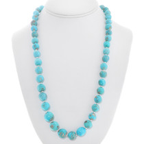 Native American Turquoise Silver Beaded Necklace 40791