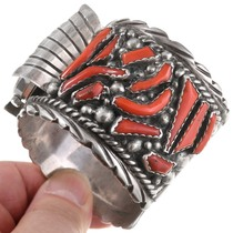 Red Coral Old Pawn Native American Watch Cuff 40803