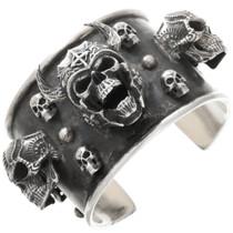 Large Sterling Silver Skull Bracelet 40806
