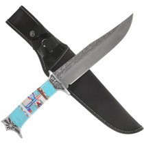 Turquoise Handle Stainless Steel Bowie Knife 40810