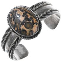 Vintage Leopardskin Jasper Navajo Cuff Bracelet 40817