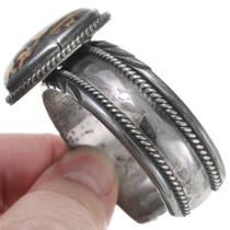 Native American Sterling Silver Bracelet Leopard Skin Jasper 40817