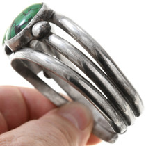 Green Spiderweb Turquoise Sterling Silver Bracelet 40826
