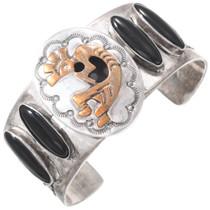 Vintage Onyx Sterling Silver Gold Kokopelli Bracelet 40828