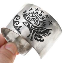 Detailed Navajo Silver Overlay Eagle Bracelet 40832