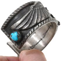 High Grade Turquoise Sterling Silver Eagle Bracelet 40833 40833