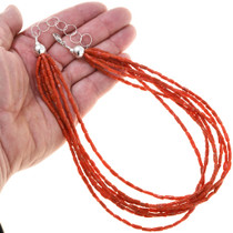Beaded 7 Strand Mediterranean Coral Necklace 40845