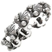Vintage Mexican Leaf Drop Silver Link Bracelet 40854