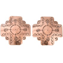 Large Hammered Copper Navajo Cross Earrings 40874