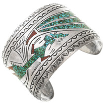 Vintage Turquoise Yei Sterling Silver Cuff Bracelet 40823