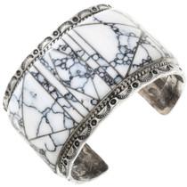Vintage Crazy Horse Inlay Sterling Silver Navajo Bracelet 40822