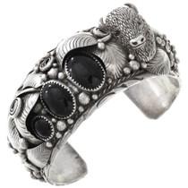 Vintage Zuni Onyx Silver Buffalo Cuff Bracelet 40856