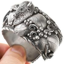 Sterling Silver Buffalo Onyx Navajo Bracelet 40856