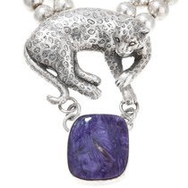 Vintage Natural Amethyst Silver Leopard Necklace 40887