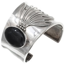 Vintage Sterling Silver Onyx Bracelet 40898